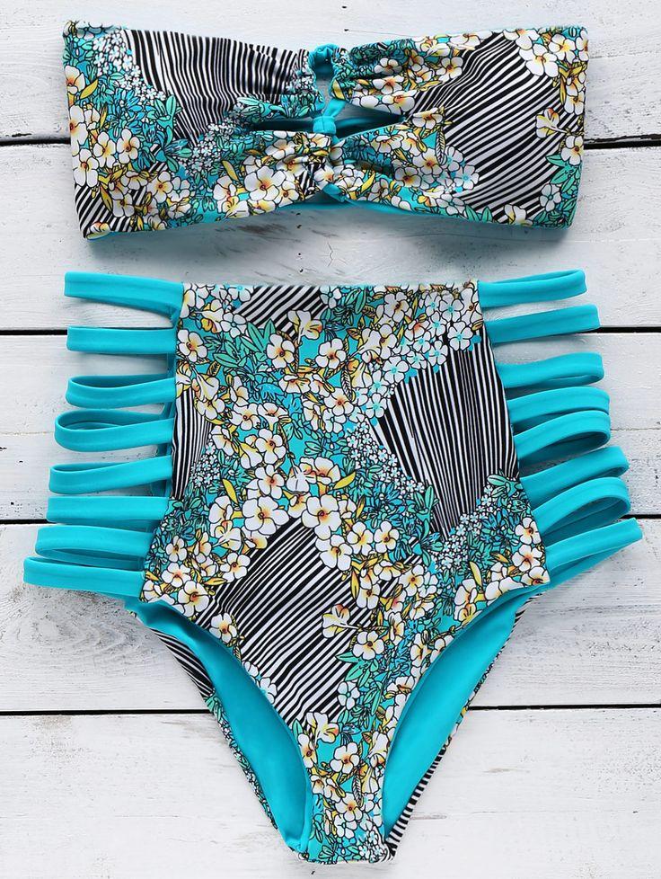 Reversible Bandeau Bikini Set TURQUOISE: Bikinis | ZAFUL
