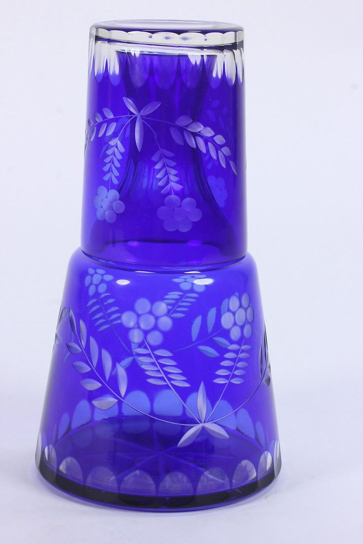 Cobalt Blue Cut To Clear Tumble-Up Carafe Or Decanter & Tumbler Elegant Glass