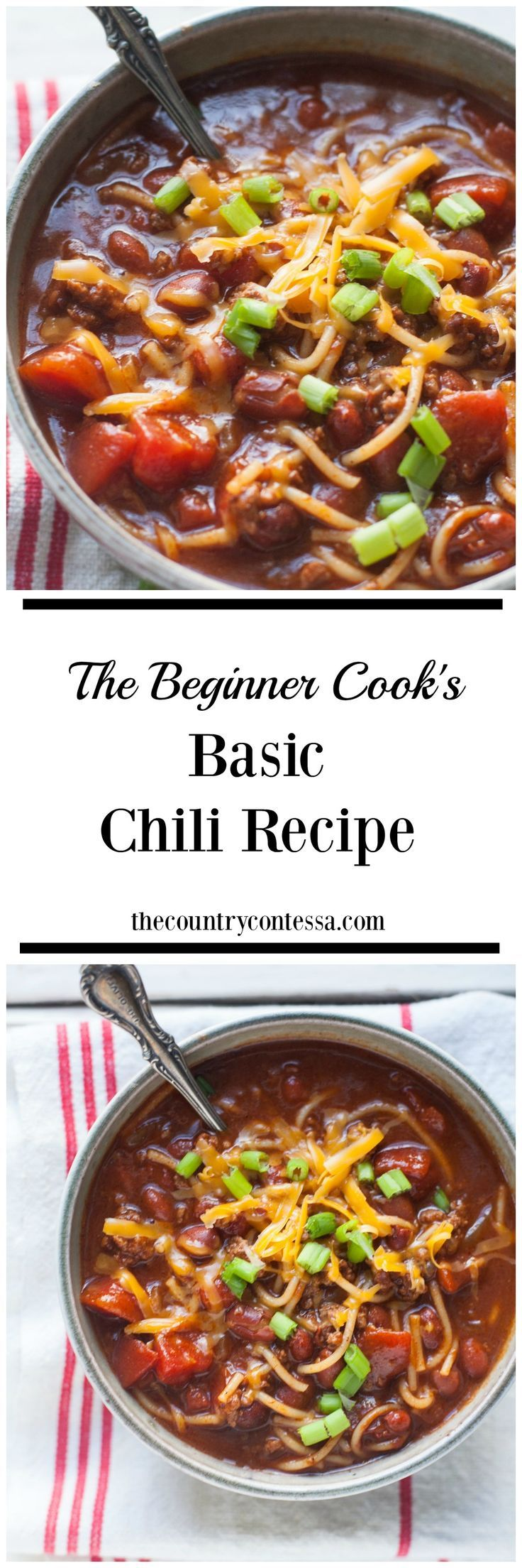 Sometimes you just need a good basic bowl of chili. Not too hot, and not too many fancy ingredients. This easy southern chili recipe is guaranteed to deliver it all.  via /contessa_cooks/
