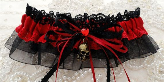 sweet!  Red and Black Lace Satin Organza Rose Skull by ShabeeStitches, $20.00
