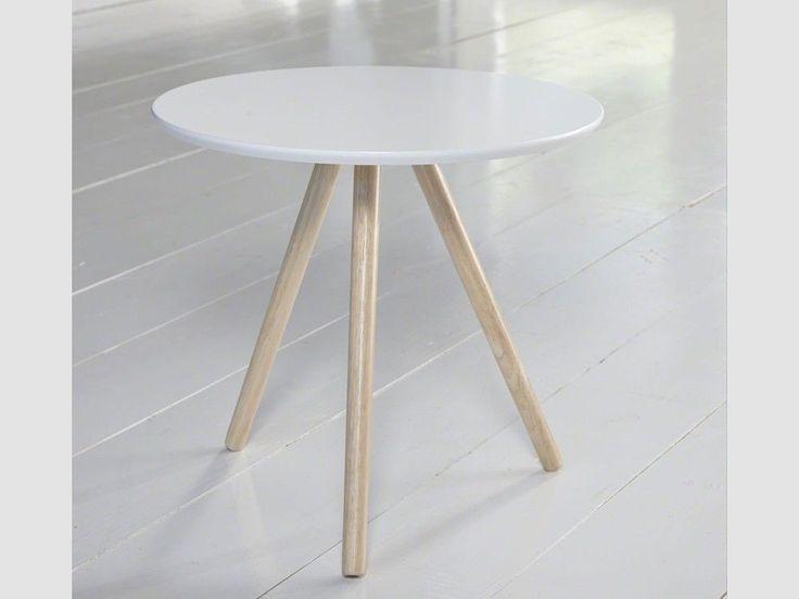 Beistelltisch in Weiß Retro-Design Tischbeine Eiche Tischplatte Ø50cm MDF in Möbel & Wohnen, Möbel, Tische | eBay