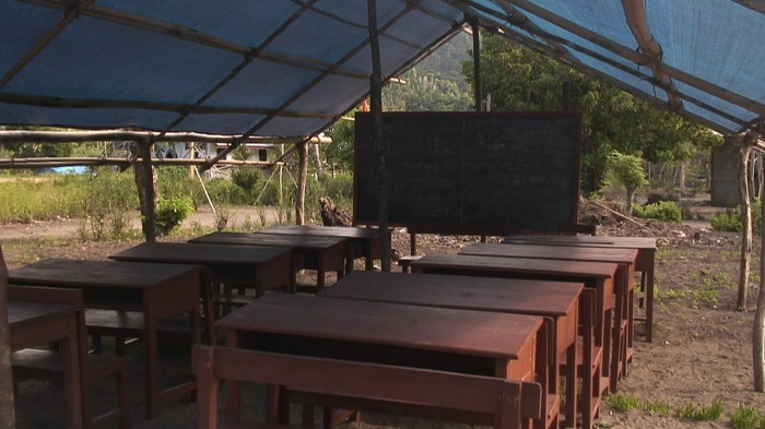 At the very least, a small, outdoor school has been put up, still awaiting the return of Sorongs main schoolteacher. Ph...