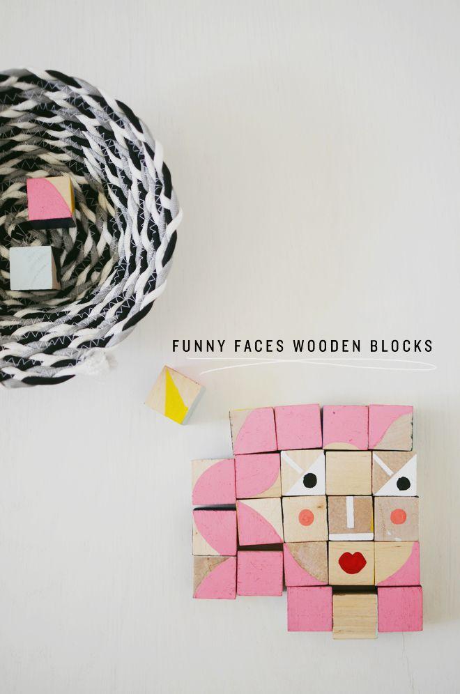 diy: funny faces wooden blocks