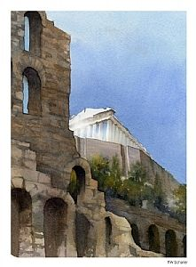 parthenon - 3 by Thomas W. Schaller Watercolor ~ 11 inches x 8.5 inches