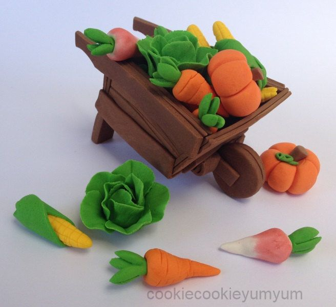 Edible Cake Decorations Vegetables : 1 edible 3D WHEELBARROW & 12 VEGETABLES peter rabbit theme ...