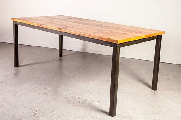 Wide Plank Pine Industrial Steel Base Dining Table – The Urban Settler