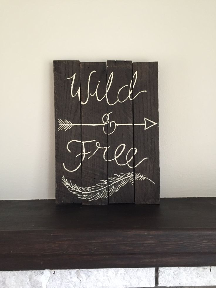 Wild and Free wooden sign - Hand Painted - Rustic Wood Sign - Arrow Sign - Feather Sign - Reclaimed Wood by RusticBreeze on Etsy