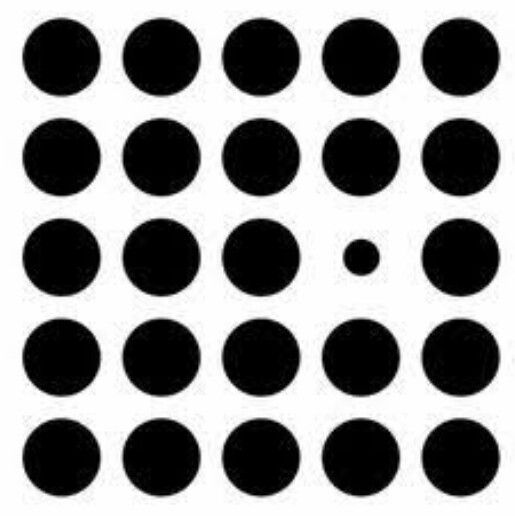 Small circle is dominant due to the negative space around it