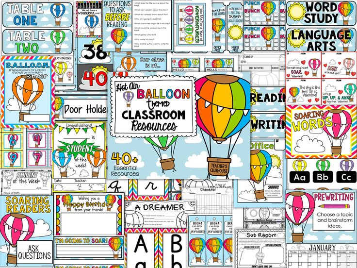 Over 40+ Hot Air Balloon-Themed Classroom Resources!  Everything from calendar pieces, nametags, writing stages, binder covers, passes, Valentine cards, student of the week pages to editable newsletters and Open House PowerPoint.  https://www.teacherspayteachers.com/Product/Hot-Air-Balloons-Theme-Decor-Pack-2558848  Hot Air Balloon Theme, Hot Air Balloons Theme, Hot Air Balloons Décor, Hot Air Balloon Décor, Hot Air Balloon Themed Classroom, Hot Air Balloon Classroom Décor