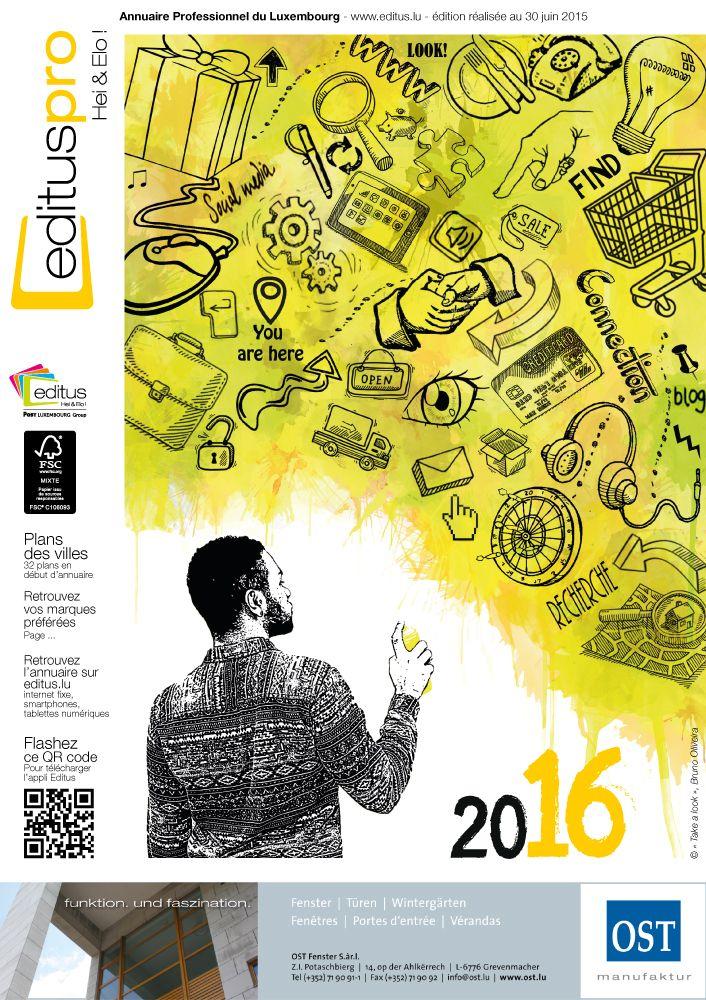 Couverture de l'annuaire Editus Pro 2016 réalisée par Bruno Oliveira. L'œuvre jaune s'intitule « Take a look » et représente un autre graffiti du même artiste. Il cherche l'attention du public, à l'image des utilisateurs qui cherchent des contacts dans les Pages Jaunes. Parce que pour trouver, il faut commencer par chercher. Le graffiti symbolise ainsi la recherche et la solution à nos questions.