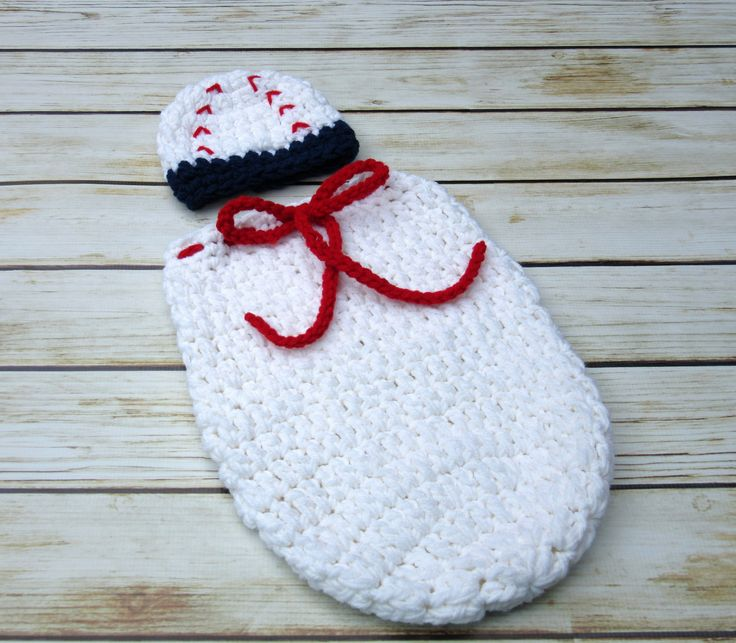 Baby Baseball Hat and Cocoon Set, Newborn Halloween Costume, Infant Boy Swaddle Sack and Hat, Baby Baseball Beanie, Cocoon Photography Prop
