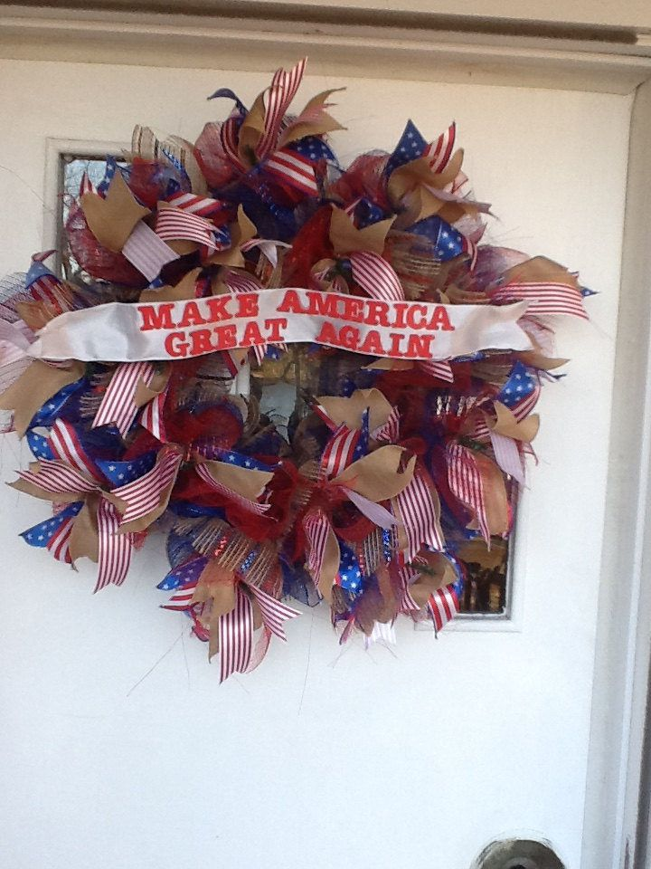 Patriotic Wreath, Republican Campaign Slogan, 4th of July Wreath, Memorial Day Wreath, Flag Day Wreath, Independence Day Wreath, Americana by OohLaLaCraftyDesigns on Etsy