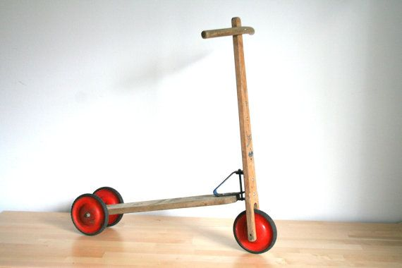 SALE Wooden children's scooter bike Mid Century toy by vintageekho, €45.00