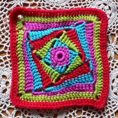 This page has 100+ of granny square patterns links, including this one for the On the Huh crochet square.