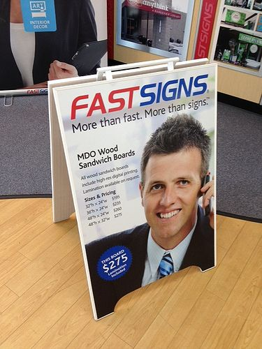 Full colour MDO plywood demo Sandwich Board produced by FASTSIGNS Vancouver www.fastsigns.com/653