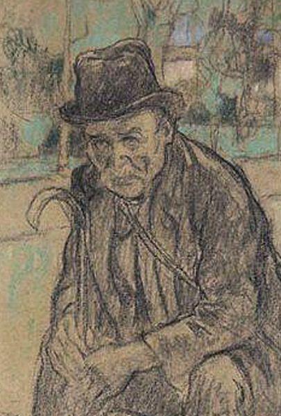 ADLER Jules,1922 - Chemineau ou Le Vagabond - drawing - Détail -