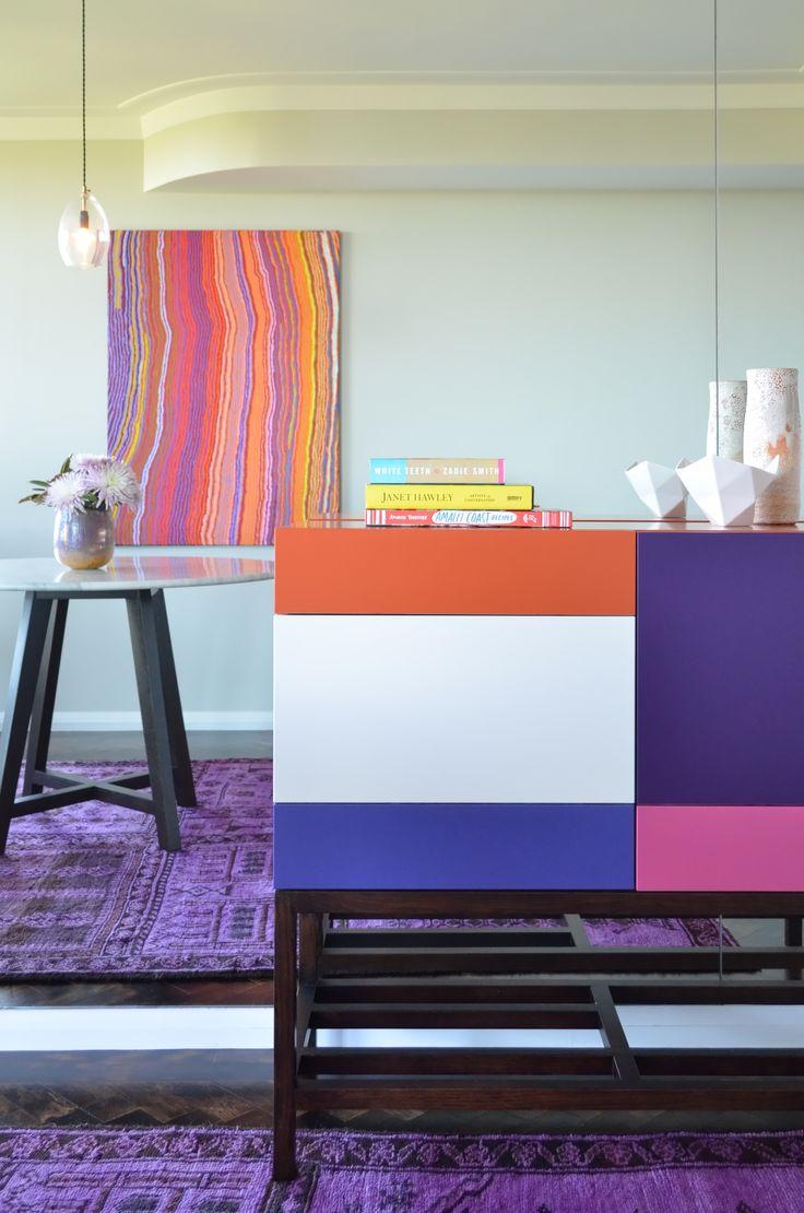 Circular Quay Harbour Apartment - Swan Studio Interior Design | breakfast nook small dining room jardan console thonet australian indigenous aboriginal art overdyed rug cadrys