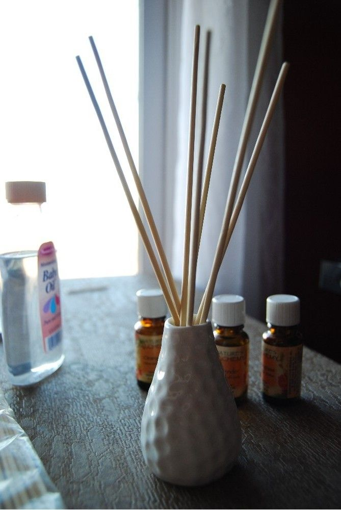 homemade reed diffuser.     Bottle: Nothing if you can reuse one      Essential Oil: Pennies(I order mine from Azure Standard and they cost about $2 a bottle depending on what kind you get)      Skewers: About .05(1.49 for 100 at Target)      Baby Oil .25($1 a bottle at the Dollar Store)    Total cost: About .35!