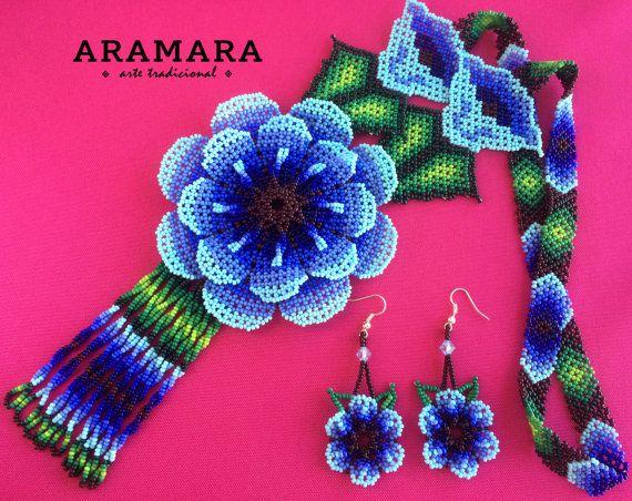 Huichol blue flowers necklace and earrings set by Aramara on Etsy (www.etsy.com/uk/people/Aramara)