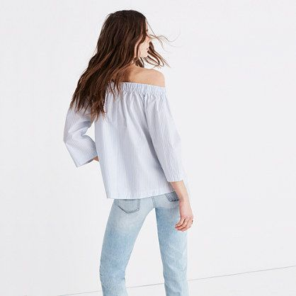 A crisp off-the-shoulder top with swingy three-quarter sleeves. You can relax, spring is definitely here.