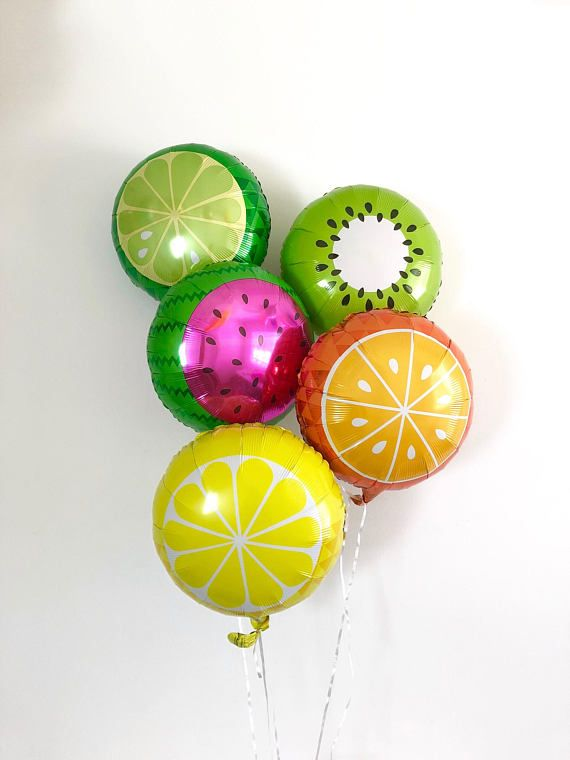 Fruit Balloons Tutti Fruity Party Fruit Party Tropical Party One in a Melon Twotii Fruitti Party Tutti Fruity Balloons Watermelon Lemon Lime