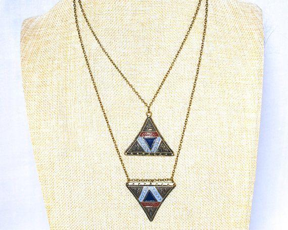 Bronze Triangle Pendant Necklace - Geometric Triangle Bronze Necklace - Bronze Pendant Geometric Necklace - Recycled Minimalist Necklace thecoastaldesert The Coastal Desert handmade jewelry jewellery