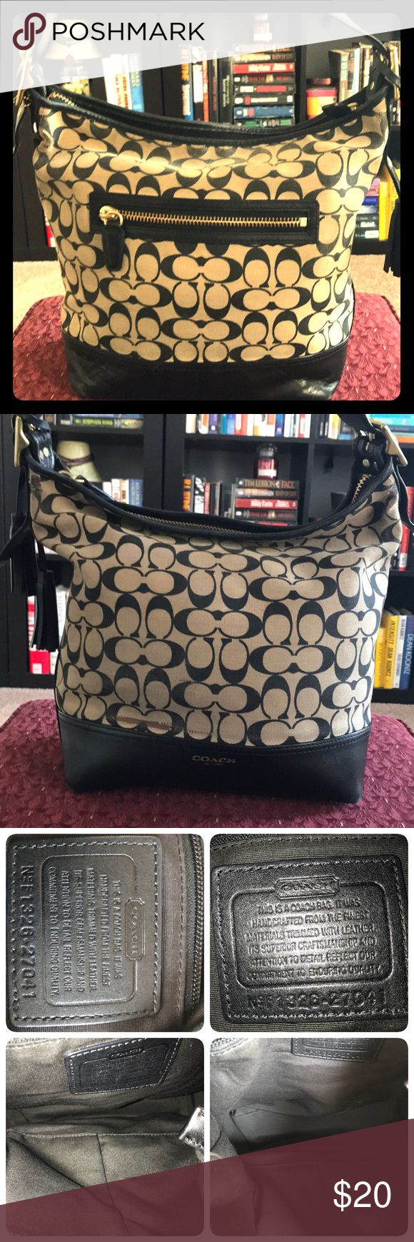 🖤Adorable Black and Tan Coach satchel purse🖤 👜 This authentic Coach satchel has definitely been well loved. Picked up at a thrift store, in similar condition. Signs of wear near closures and some snagging on the outside front (see pics for detail). Liner is fairly clean and stain free. 👜 Coach Bags Satchels