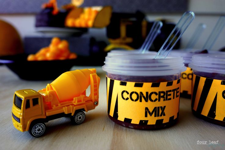 Concrete Mix | Construction-themed food | table Styling by Four Leaf