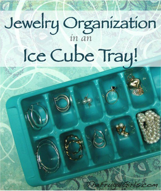 An ice tray can do double duty as a jewelry organizer for all your rings, necklaces, and earrings. #storage