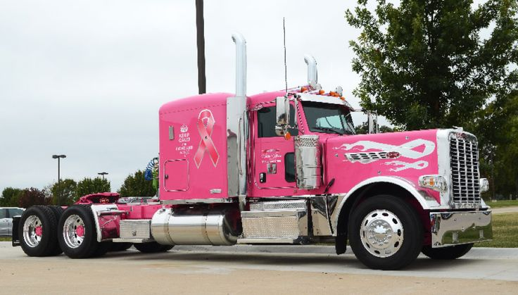 This breast-cancer awareness themed Peterbilt 389, built originally by Larson Group of Peterbilt dealers, holds special meaning for Terry Fish, who currently drives the truck for Sparks Transport.