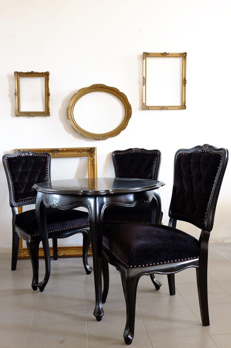 Classic chair, table (black velvet) - Remodel Studio Hungary