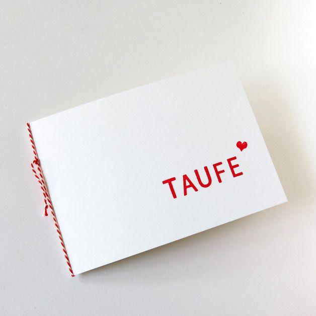 Stilvolle, Handgemachte Einladungskarte Zur Taufe. Klappkarte Aus Weißem  300g/qm Papier, Handbedruckt