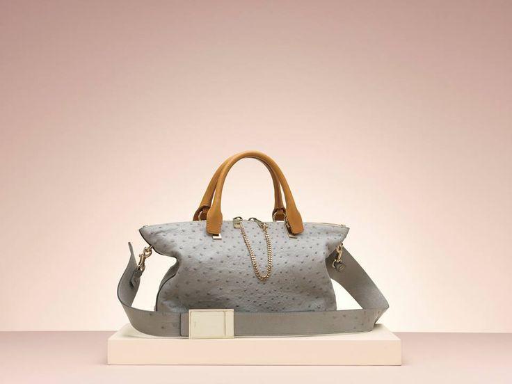 Chlo¨¦ \u0026quot;Baylee\u0026quot; medium handbag in ostrich - MARSHMALLOW GREY | Bag ...