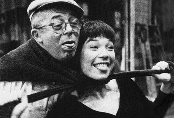 Director Billy Wilder and Shirley MacLaine goofing around on the set of The Apartment, 1960.