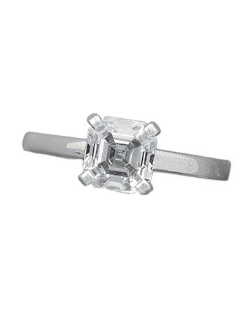 Glossary of Engagement Ring Cuts: Asscher cut - similar to an emerald cut, but square, so it looks octagonal (the radiant is a popular variation of these but with facets that give it even greater sparkle).