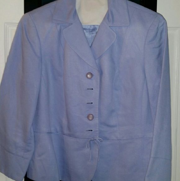 Anne Taylor Loft linen suit Beautiful lavender linen suit, worn a handful of times. 1 small water stain on suit jacket (picture 3). Ann Taylor Other