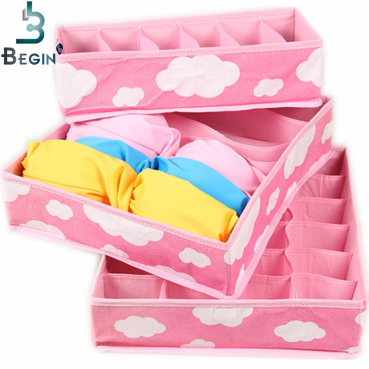 2016 Free Shipping Pink Various Grid Pattern Fashion Convenient Folding Storage Box Bag for Bra Underwear Necktie Sock Organizer ** Clicking on the VISIT button will lead you to find similar product