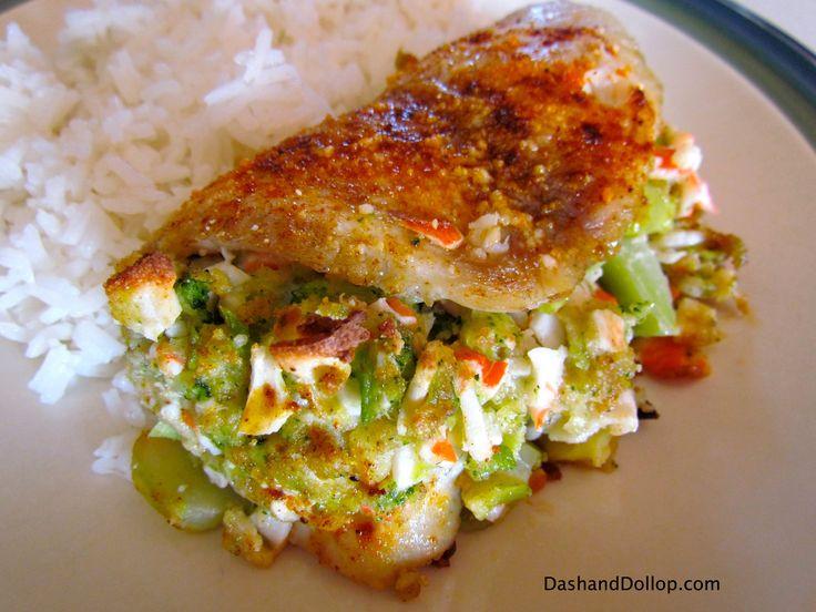 Crab and Broccoli stuffed Tilapia