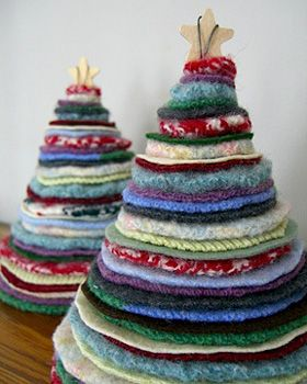 cute recycled wool trees from jumpers
