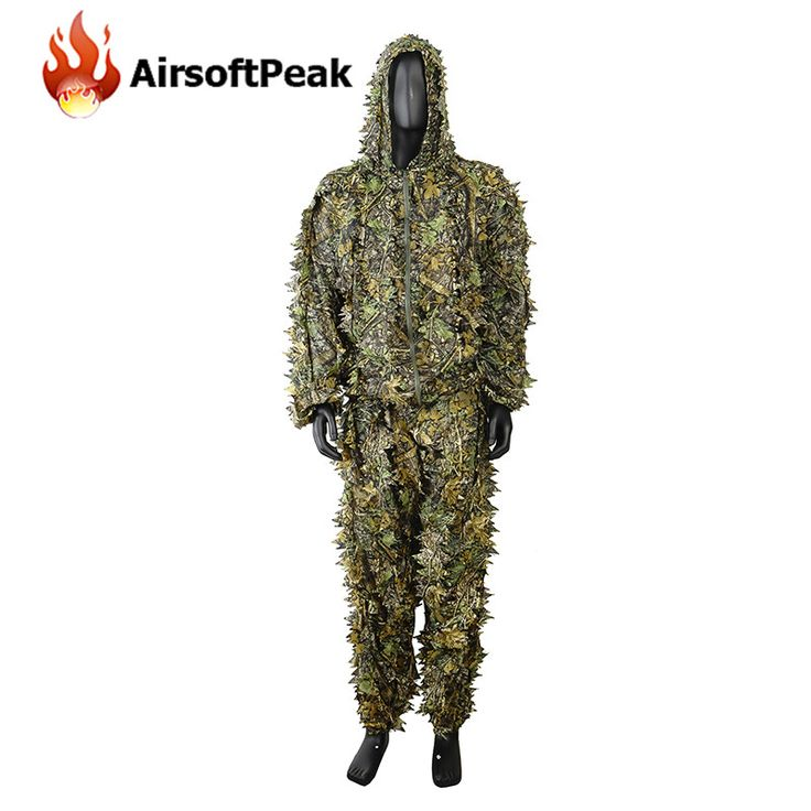 Military Wargame 3D Leaf Camouflage Hunting Camo Disguise Sniper Ghillie Suit Uniform Woodland XXL Breathable Set Clothes