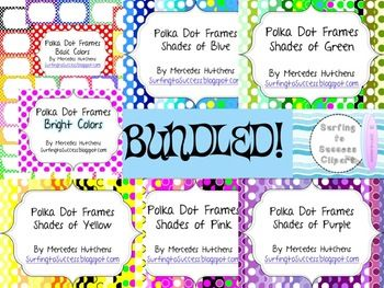 Polka Dot Frames Shades of Many Colors Bundle Save more than 20% buying this bundle.More than 200 PNG filesWant to add some color to your classroom?  These polka dot frames make that quick and easy.  Just open PowerPoint, insert a frame as a picture or background, add a text box and go.I use these in my classroom a lot.