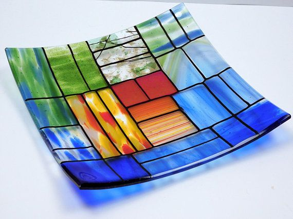 Fused glass dishes in brown chocolate color pair square