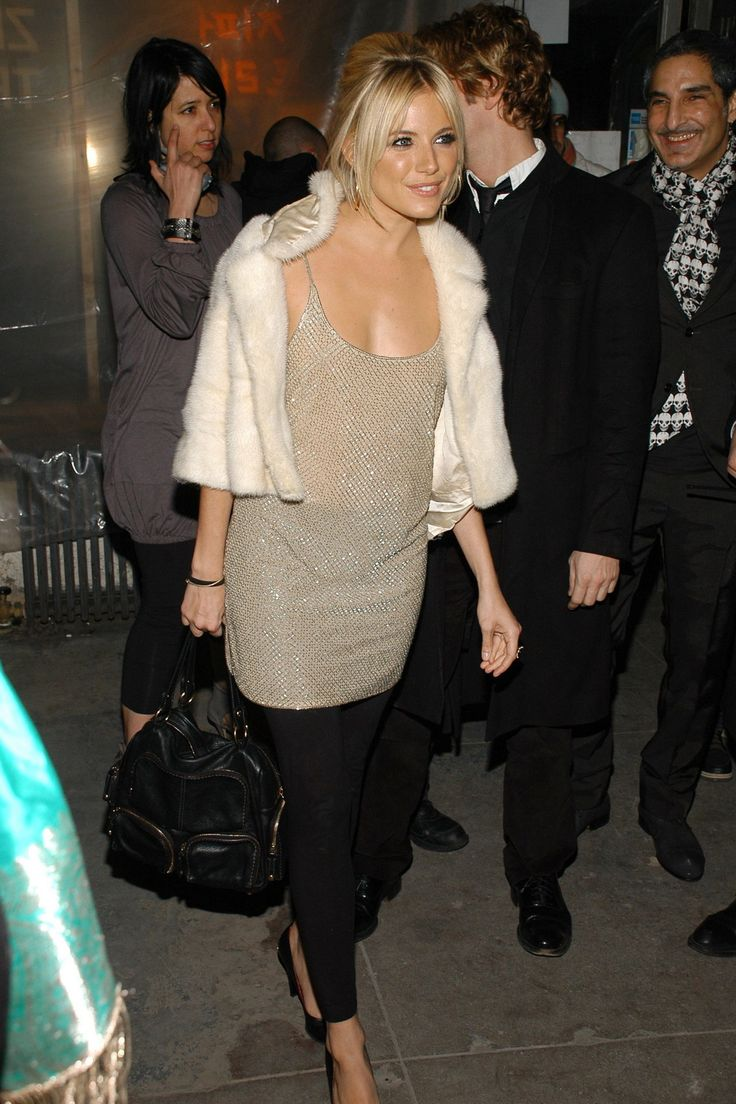 Sienna Miller boho chic street style in fur and Calvin Klein