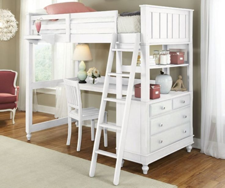 White Wooden Bed With Stairs And Drawer Also Desk Underneath Plus White Wooden Chair Combined White Carpet Ob Wooden Floor As Well As Full Wood Loft Bed With Desk Also Beds Bunks And Lofts