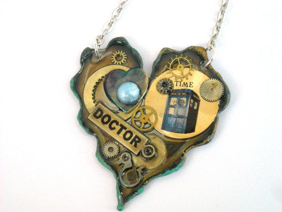 """Doctor Who Necklace The Hearts of  a Time ~ via this Etsy store, """"Time Machine Jewelry""""."""