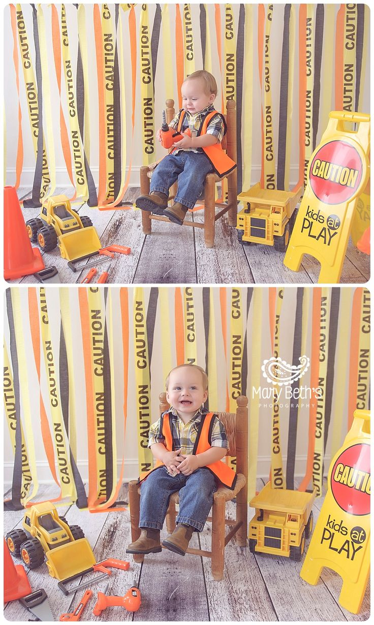 """Bob the builder .....can you fix it?? Bob the builder...yes you can!"". Can't you just hear that song come through in this 1st Birthday Construction Themed Cake Smash? Andrew is turning 1 and his parents decided on a construction theme for the party and cake smash! Andrew is a member of my 1st Year…"