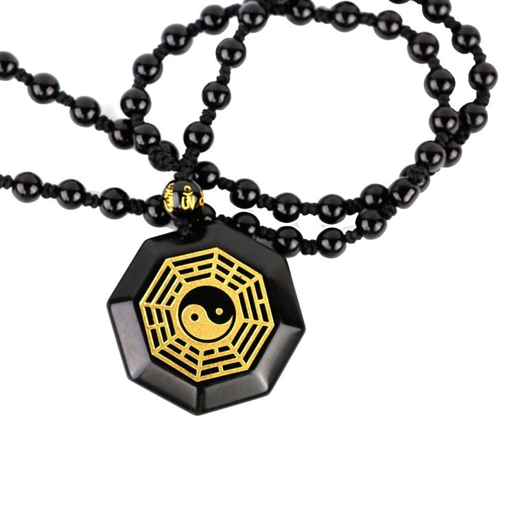 SCOO Jewelry Natural Black Obsidian Round Tai Chi Gossip Pendant Extend Bead Necklace. Size:35*35mm. Chain Length:58cm-66cm;23inch-26inch. Natural Black Obsidian,for both Mens and Womens. Comes with a beautiful Gift Bag.
