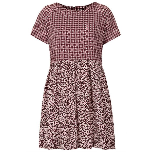 TOPSHOP Animal Tile Mix Tunic Dress (180 BRL) ❤ liked on Polyvore featuring dresses, topshop, vestidos, red, burnt red, short sleeve dress, red print dress, red pattern dress, topshop dresses and red dress
