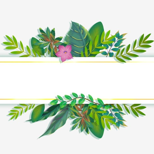 Hand Painted Small Fresh Green Leaf Rectangle Border Cartoon