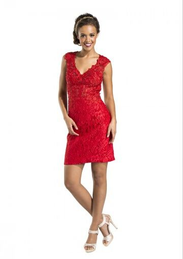 Cheap and Australia 2016 Red A-line V-neck Neckline Beaded Appliques Lace Mini Length Homecoming/ Evening Dress/ Prom Dresses CS1383 from Dresses4Australia.com.au